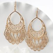teardrop filigree drop wire earrings