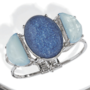 blue faux stone silvertone hinge bangle