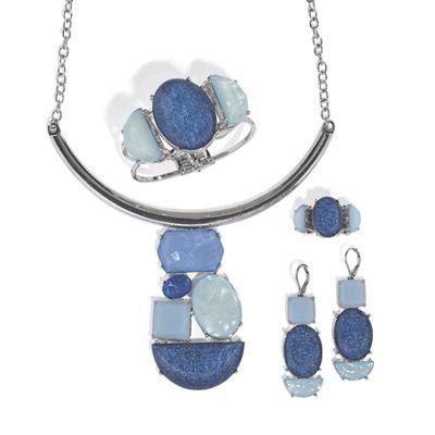 Blue Faux-Stone/Silvertone Jewelry