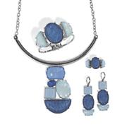 blue faux stone silvertone jewelry