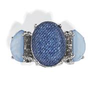 blue faux stone silvertone stretch ring