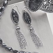 faux stone scroll earrings