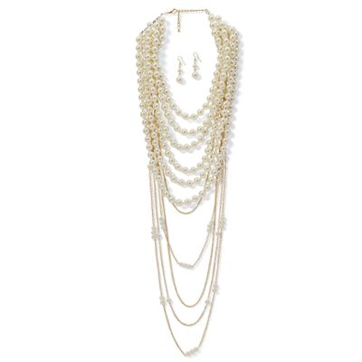 Faux/White-Pearl Necklace & Earring Set