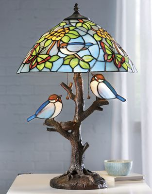 Double Lit Stained Glass Birds Lamp
