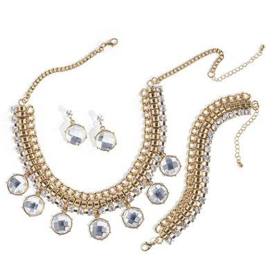 Crystal Weave Necklace/Bracelet/Earrings Set