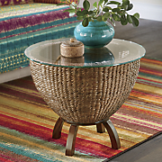 woven basket storage table