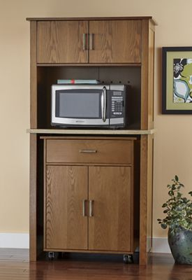 2-In-1 Microwave Hutch with Pull-Out Cart