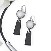 faux pearl black geo earrings