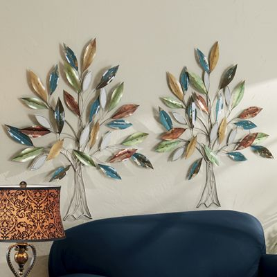 Metal Tree with Colored Leaves Wall Art