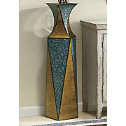 etched vine metal vase