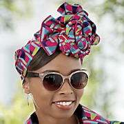femke headwrap and fierce sunglasses