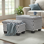 set of 2 upholstered storage benches