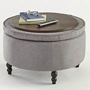 button tufted storage ottoman