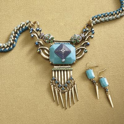 Teal Necklace/Earring Set