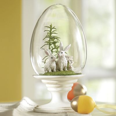 Bunnies in Glass Egg Cloche
