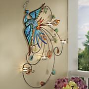 peacock wall votive