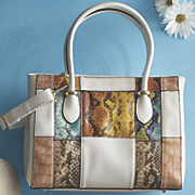 multicolored patched bag