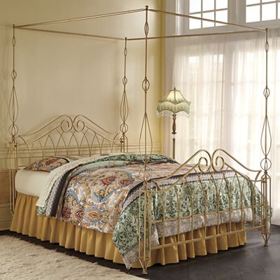 Gold 4-Poster Spindle Canopy Bed