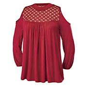lace yoke cold shoulder top