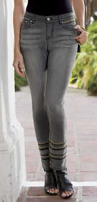 Embroidered Ankle Jean