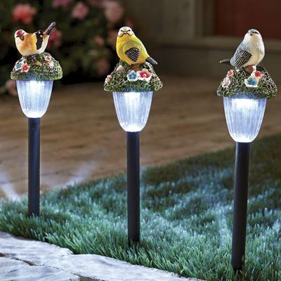 3-Piece Solar Bird Stake Light Set