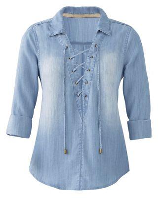 Lace-Up Denim Shirt