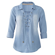 lace up denim shirt 39