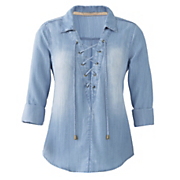 lace up denim shirt 39