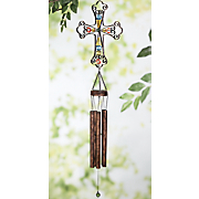 solar beaded cross wind chime