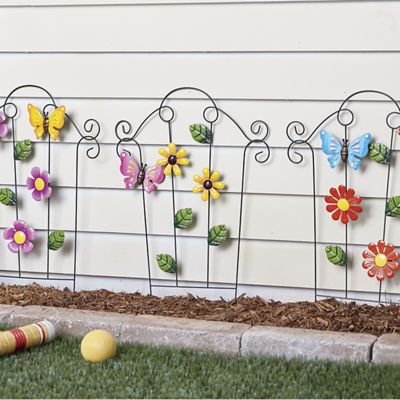 3-Piece Flower Fence Panel Set
