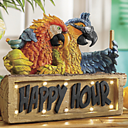 solar parrot happy hour sign