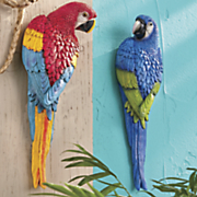 2 pc  parrot wall accent set
