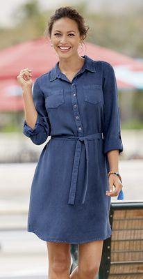 Washed-Rayon Shirtdress