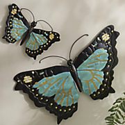 set of 2 metal butterflies