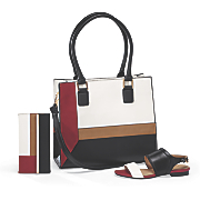 colorblock tote  billfold and sandal