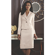 pleat trim skirt suit