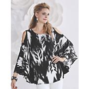 black white ikat print top