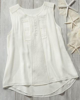 Pleated Bib Button Front Tank