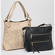 whipstitch tote with removable crossbody