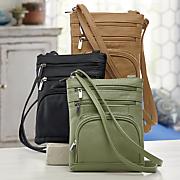 multi pocket leather crossbody bag