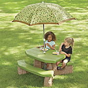 playful picnic table with umbrella by step2