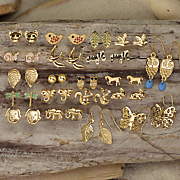 20 pair animal and nature earrings set
