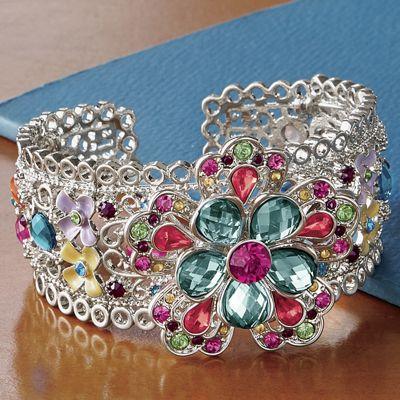 Crystal Floral Cuff