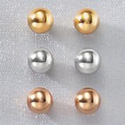 3 pair 10k gold ball post earring set