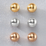 3 pair 10k gold ball post earring set