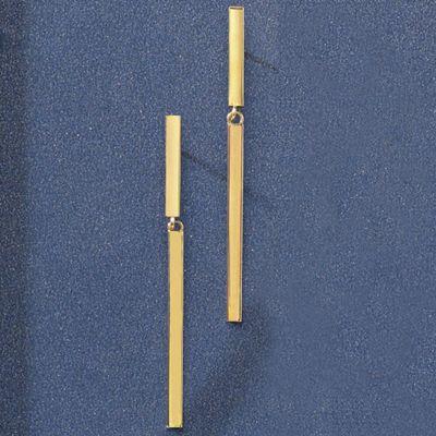 10K Gold Stick Drop Post Earrings