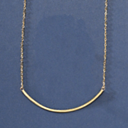 14k gold frosted bar necklace