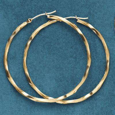 Gold Twisted Round Hoops