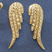 10k gold angel wings post earrings