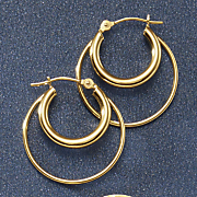 14k gold double round hoops